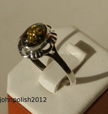 Nice Green Baltic Amber Ring with Silver 925