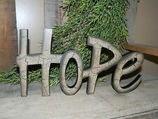NEW HOPE Word Wood Wooden Sign Freestanding Primitive Country Rustic Dark Tan