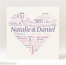 Personalised Handmade Heart Wedding Card
