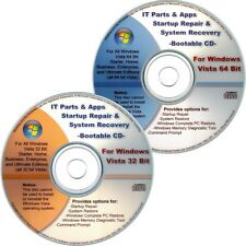 32 & 64 Bit Windows Vista Recovery Disc PACK: Startup Repair System Restore Disk