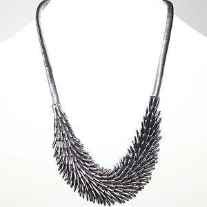 Collier Damen Statement Kette Kurze Halskette Modeschmuck Federn Silber
