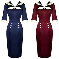 Hell Bunny Sandra Dee Nautical Sailor Vintage 1950s Rockabilly Pencil Dress