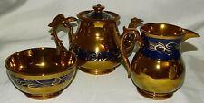 Caledonian Scotland Copper Lustre Luster Tea Set Teapot Cream Sugar Eagle Handle