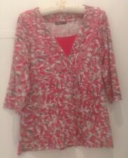 Dash Red Pink Mix patterned Womens Top Tunic Size 10