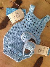 Conjunto Azul Bebe Body Patucos 0/4 Meses Nuevo Crochet Ganchillo
