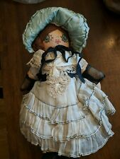 """Antique Blue Eye Straw Doll 100+Yrs Old Handmade 14"""" Doll"""