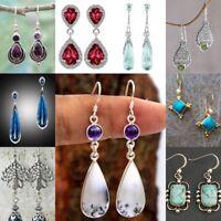 925 Silver Moonstone Dangle Drop Ear Hook Women Wedding Jewelry Gift Earrings