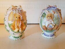 Set of 2 Cherished Teddies Easter Eggs 1996/1997 Priscilla Hillman Enesco