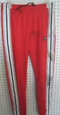 "New Victoria Secret ""Pink"" Logo Tri-Color Track Pants - Red Pepper/Gray/White"
