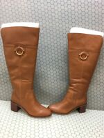 Franco Sarto BECKFORD Brown Leather Side Zip Knee High Boots Women's Size 9M  WC