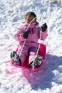 Winter Snow Sled Downhill Fun Pink Kids Toboggan Sleigh Childrens Sledge Outdoor