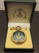 New Masonic Mason Pocket Watch Gold Tone Square & Compass BLUE LODGE ENAMEL
