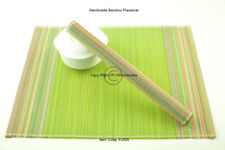 4 Fine Quality Handmade Bamboo Placemats Table Mats, Lime Green, PJ005