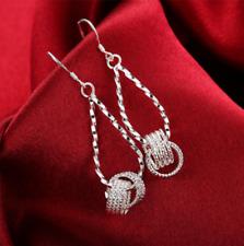 Womens 925 Sterling Silver Diamond Cut Long Drop Dangle Fashion Earrings #EA76