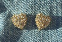 Signed Monet Petite Gold Tone & Pave Crystal Rhinestone Heart Earrings