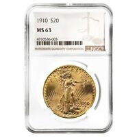 1910 $20 Gold Saint Gaudens Double Eagle Coin NGC MS 63