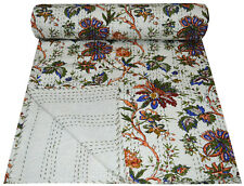 Indian Handmade Multi Floral Cotton Kantha Quilt Throw Bedspread Bedding Queen