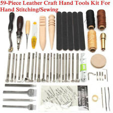 59Pcs Leather Craft Tools Kit Hand Sewing Stitching Punch Carving Adjustable