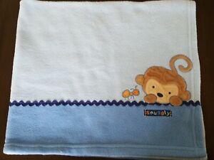 Carter's Monkey & Ant Baby Blanket Child of Mine Blue Fleece Security Lovey Boys