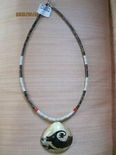 Native American Handpainted Shell & Heishi Necklace Signed ~*~*~*