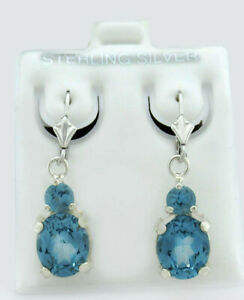 AQUAMARINE 4.92 Cts DANGLING EARRINGS .925 Sterling Silver ** BRAND NEW WITH TAG