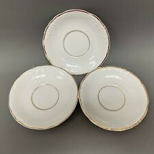 Royal Kent Poland Saucers White Gold Trim Lot of 3