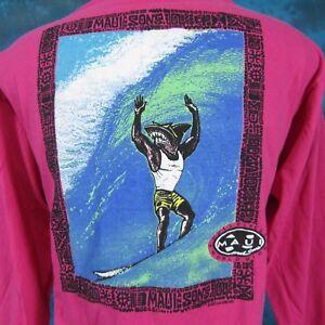 NOS vintage 90s MAUI & SONS SURF SHARK L/S T-Shirt XL cartoon beach skate hawaii