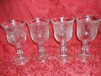 SET OF 4 Fostoria for AVON 1978 Clear Wine Glass Goblet Water Wine Hearts