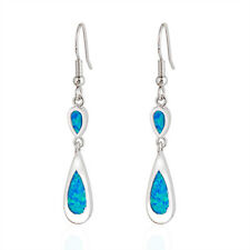 Blue Fire Opal Drop/Dangle Earrings Women's 925 Silver Plated Wedding Jewellery