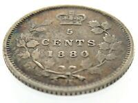 1880 H Canada Five Cents Small Silver Canadian Circulated Victoria Coin M858