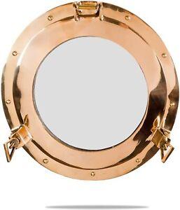 "15"" Gold Nautical Vintage Brass Porthole Maritime Face Mirror Wall Decor Gift"