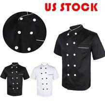 Chef Coat Jacket Short Sleeve Kitchen Cooker Workwear Restaurant Waiter Uniform