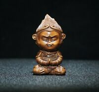 Collect Old Boxwood Japanese Netsuke hand carved Monkey King Statue figurines