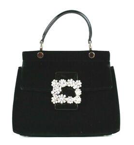 ROGER VIVIER $2,750 Black Velvet Flowers Strass Buckle Mini VIV CABAS Bag