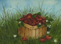 VINTAGE STRAWBERRY FRUIT BASKET WHITE FLOWER GREEN GRASS FRESH PICKED PAINTING