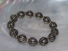 Gently Used Lightweight Etched Hollow Silvertone Balls Stretch Bracelet –