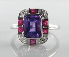 CLASS 9k 9CT WHITE GOLD AMETHYST RUBY DIAMOND ART DECO INS RING FREE RESIZE