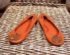 Tory Burch Orange Leather Logo Ballet Flats Womens Size 6 (US)