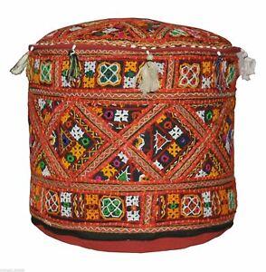 "Indian Cotton Patchwork Vintage Khambadiya Round 14X22"" Ottoman Pouf Stool Cover"