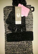 BERKSHIRE FASHIONS 3 PIECE POM womans / girs  SET BLACK SPARKLE