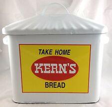 TAKE HOME KERN'S BREAD PORCELAIN ENAMEL ENAMELWARE BREAD BOX WITH LID