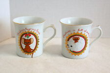 Set of 2 GEORGE GOOD Christmas Coffee Cups/Mugs...Cat & Mouse...L@@K!