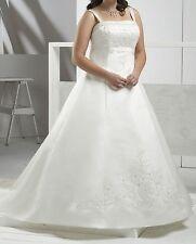 wedding dress size plus 16 18 20 22 24 26 straps lace up back white ivory 0011