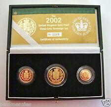 2002 GOLD BEWEIS DREI MÜNZE SET SAMMLUNG SOUVERÄN 1/2 HALB SOUVERÄN
