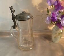 More details for antique german glass and pewter lidded stein-cut glass and highly decorated