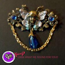 """""""JJ"""" Jonette Jewelry BRONZE Pewter ' FAIRY WINGS FLOWERS BLUE GEM STONES'  PIN"""