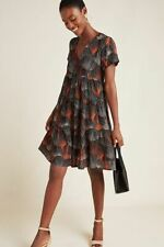 NWT Anthropologie Tania Tiered Tunic Dress sz S by Maeve Black Red $130