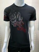 New Mens Short Sleeve Very Slim Fit T-Shirt Black Silver Red Floral Rhinestones