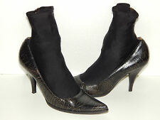 MIU MIU black crackled distressed stocking leather heeled pointy ankle boot 37 7