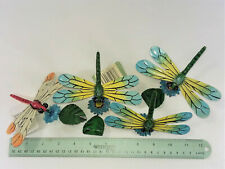 "4 DRAGONFLY POT HANGERS, METAL & RESIN, 5"" x 4 1/2"" EACH- NEW"